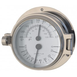 Polished Chrome Thermometer Hygrometer