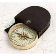 Brass Compass in Leather Pouch