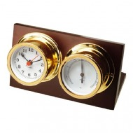Gold Plated Desk Clock And Barometer (50mm Dial)